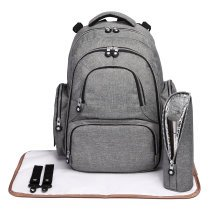 (Grey) 3pc KONO Nappy Change Backpack | Baby Change Backpack Set