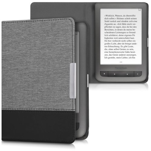 kwmobile Case for Pocketbook Touch Lux 3/Basic Lux/Basic Touch 2 - PU Leather and Canvas Protective e-Reader Cover Folio Case - Grey Black