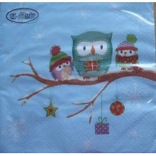 4 x Christmas Paper Napkins - Owls in Snow - Ideal for Decoupage