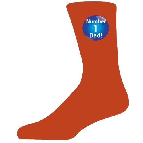 Orange Socks With a Blue No 1 Dad Badge Design