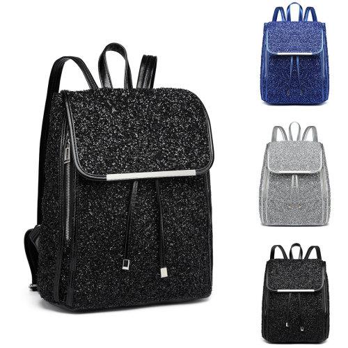 Miss Lulu Women Glitter Backpack Girls School Bag Fashion Rucksack