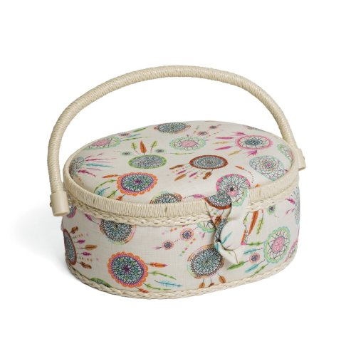 Hobbygift Classic Oval Sewing Basket - Dream Catcher - 18x23x11cm