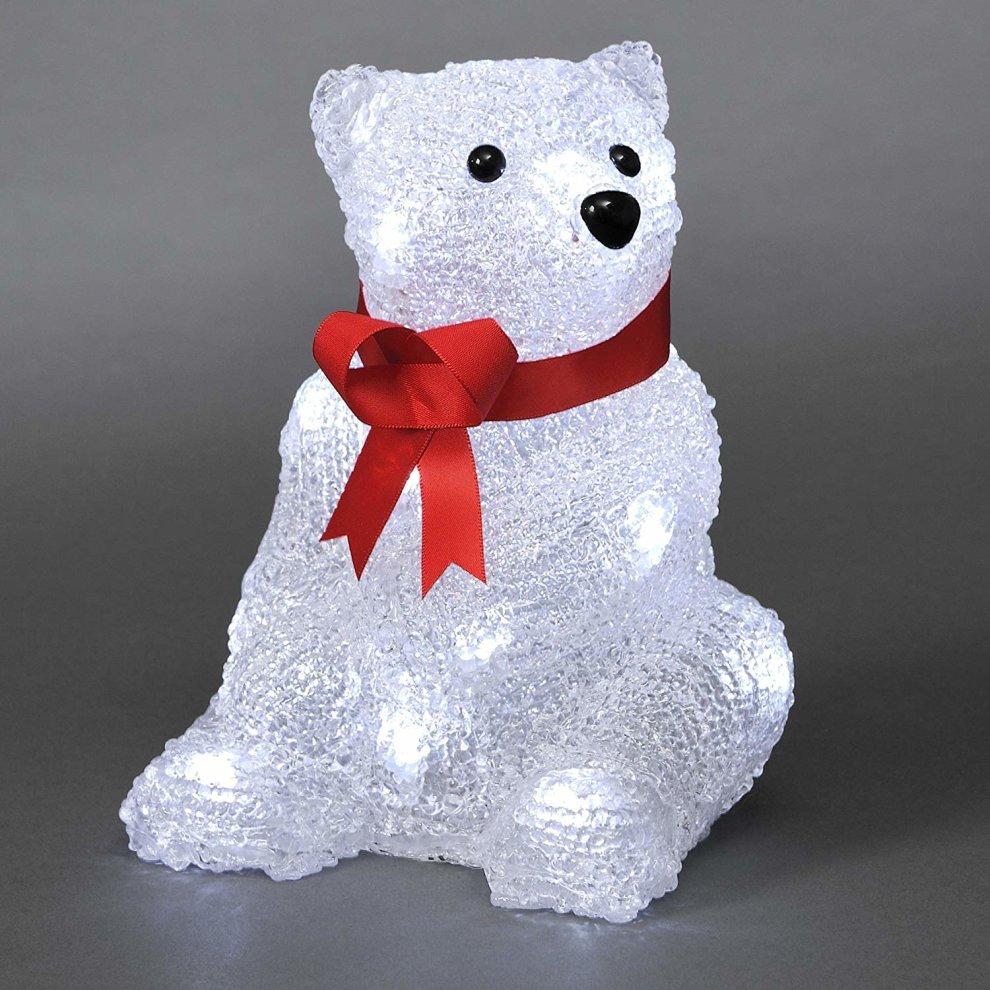 Battery LED Acrylic Sitting Polar Bear - 16 LEDs - 18cm high - 3D Christmas Decoration ...