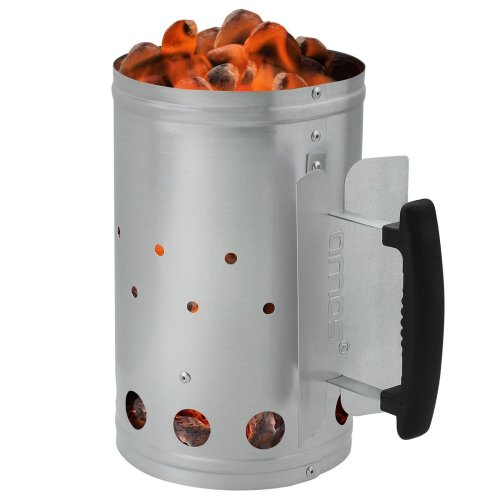 AMOS BBQ Barbecue Chimney Starter Charcoal Grill Steel Rapid Quick Fire Lighter