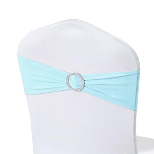 10PCS Chair Back Wedding Bow Sashes Chair Cover Bands With Buckle-Blue