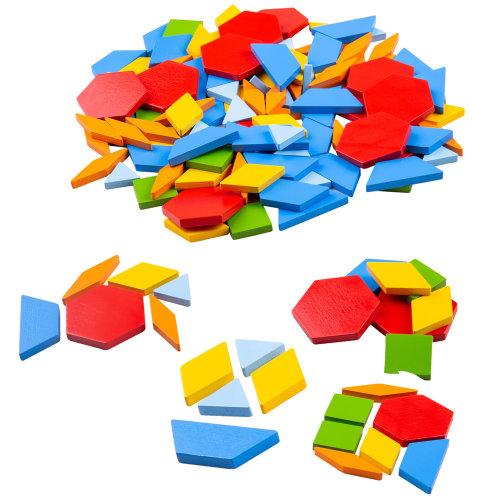 Bigjigs Toys Wooden Pattern Tiles - Educational Geometric Shapes