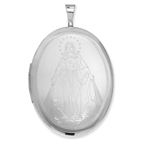 Childrens Sterling Silver Our Lady Oval Locket On A Curb Necklace
