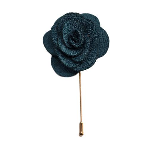 Teal Handmade Flower/Rose Lapel Pin for wearing with men's suit jacket, blazer, dinner jacket or tuxedo jacket