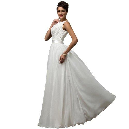 Beach White Wedding Dresses  Chiffon Low back Cheap vestido de noiva lace Long Bridal Wedding Gown 7560