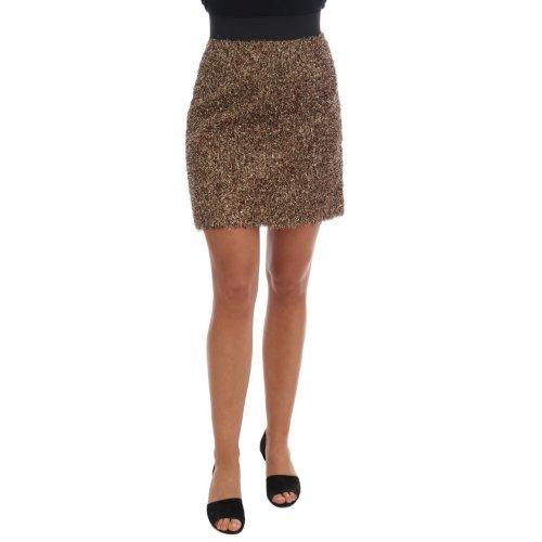 Dolce & Gabbana Gold Black Short Mini Skirt