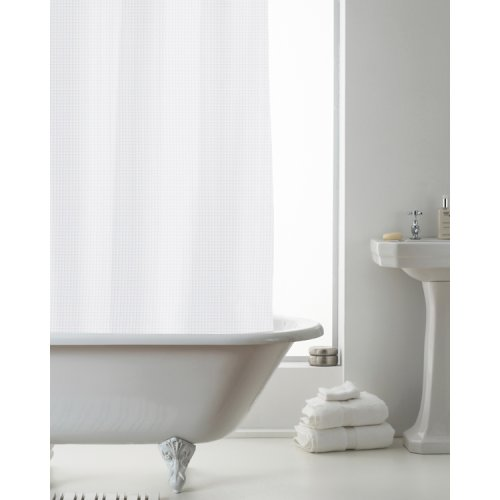 Country Club Waffle Shower Curtain Liner, White