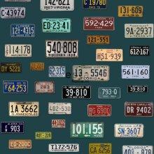 non-woven wallpaper XXL vintage license plates