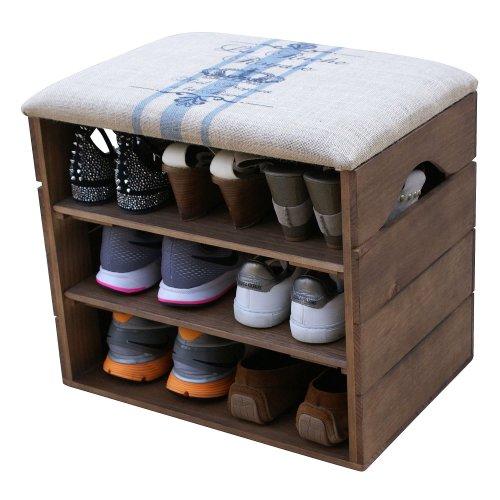 Shoe Rack Premium Vintage Wooden Shoes Organiser Storage Cabinet