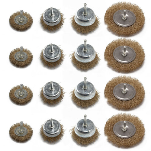 12x Drill Wire Wheel Brush Cup & Flat Crimped Steel Drill Attachment Brushes.