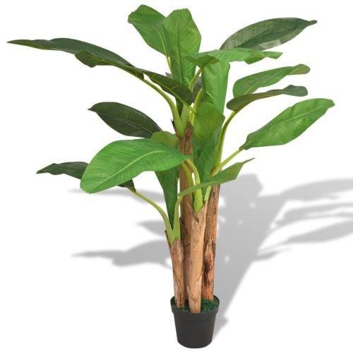 vidaXL Artificial Banana Tree Plant with Pot 175 cm Green
