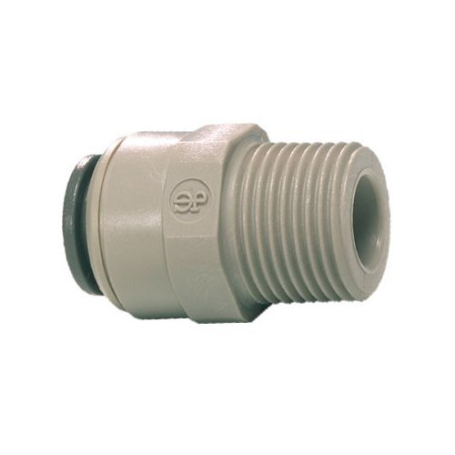 John Guest Straight Adaptor 3/8 inch Tube OD x 1/4 inch BSPT Male Thread (one supplied)