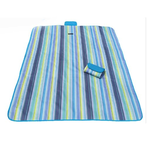Waterproof Picnic Blanket Blue Stripes Great for the Beach,Camping on Grass