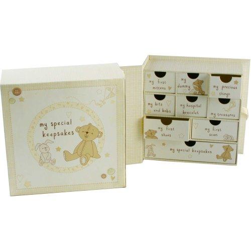 Button Corner Paperwrap Book Keepsake Box with Drawers