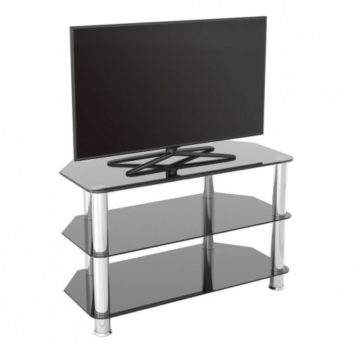 King Glass TV Stand 80cm, Chrome Legs, Black Glass, for TVs up to 42""