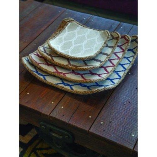 Manual Woodworkers & Weavers IWBBWT 17.75 x 17.75 x 3 in. Bay Breeze Wood Jute Tray - Set of 4