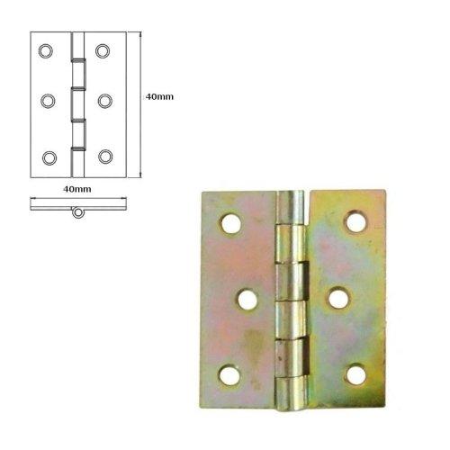 40 Pcs Folding Closet Cabinet Door Butt Hinge Brass Plated 40x40mm