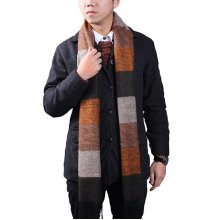 Male Oversize Cashmere Imitation Stripe Knitting Thermal Scarf