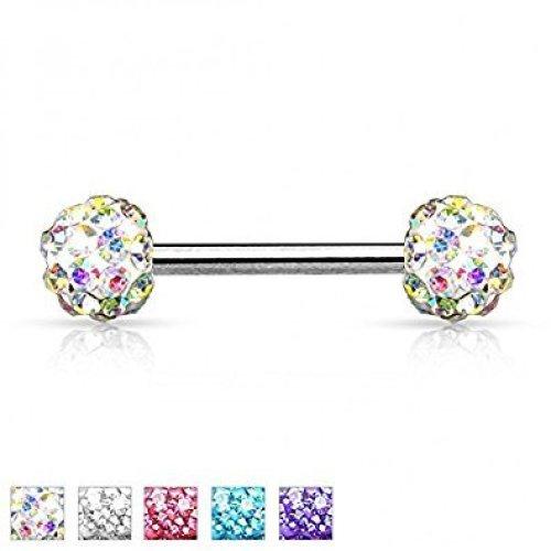 Multi Crystal Disco Ball ( Ferido ) Encrusted Double Ball Nipple Bar