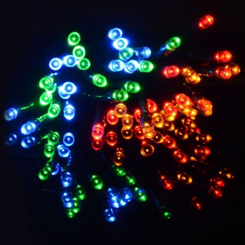 Uk Home & Garden Store 50 Multi-Coloured Solar LED String Fairy Lights Garden Party