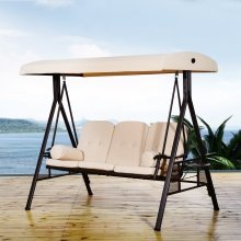 Outsunny 3 Seater Patio Metal Swing Chair | Garden Swing Seat