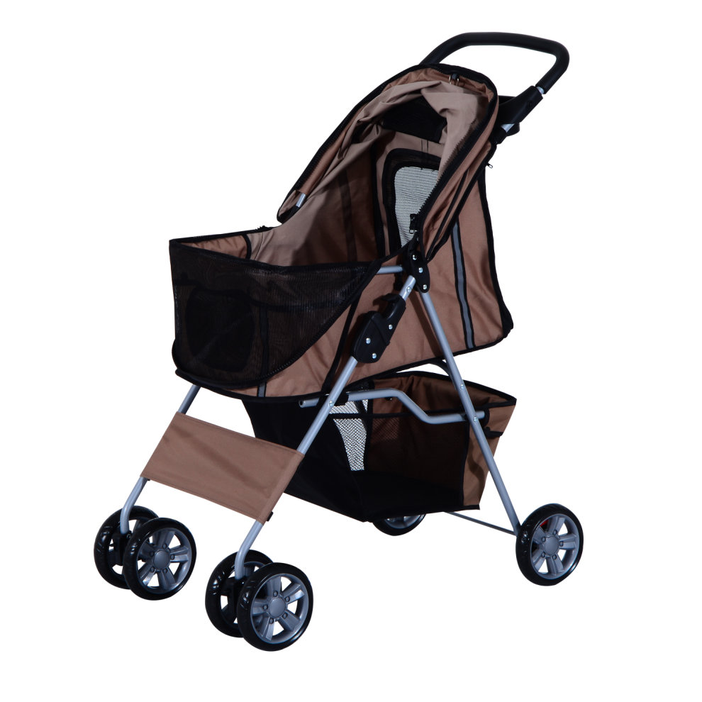 Pawhut Pet Stroller Cat Dog Wheels Travel Zipper Entry Foldable Carrier Cart Cup Holder Brown