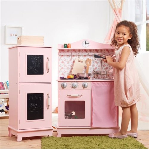 Teamson Kids TD-12273P Little Chef Provence Retro Play Kitchen, Pink