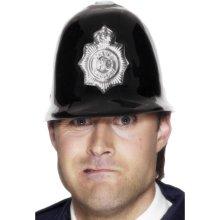 Smiffy's Police Helmet Plastic - Black/silver -  police fancy dress hat accessory helmet cops robbers mens offier policeman uniforms adult unisex