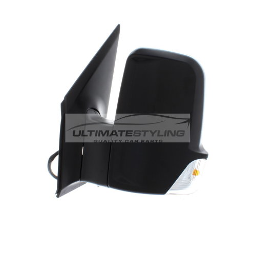 LH Ultimate Styling Replacement Electric Power Folding Wing Door Mirror With Heated Glass With Primed Mirror Cover Cap Side Of Product Passenger Side