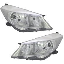 Toyota Yaris 2011-2014 Headlights Headlamps Chrome Inner Pair O/s & N/s