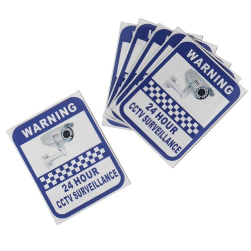 6Pcs 70x90mm Security Camera Surveillance Warning CCTV Sticker for Home Office