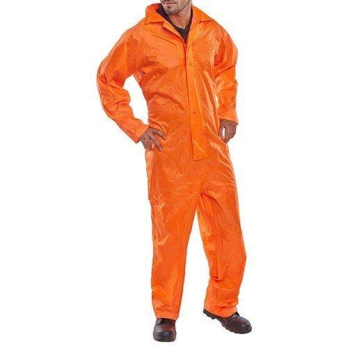 Click NBDCORL Nylon Waterproof Coverall With Hood Orange Large