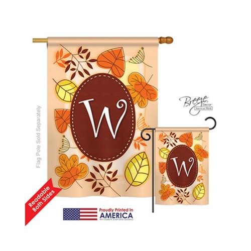 Breeze Decor 30049 Autumn W Monogram 2-Sided Vertical Impression House Flag - 28 x 40 in.