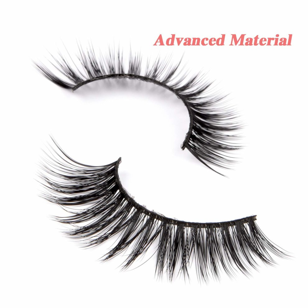 2ccb8a49429 ... False Eyelashes 3D Natural Strip Eyelashes Handmade Reusable False  Lashes Cross Style with Case for Makeup ...