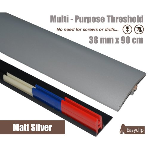 Matt Silver Multi Purpose Threshold Strip 38x90cm Adhesive Clip System
