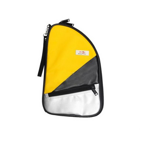 Table Tennis Paddle Bag Yellow PU Table Tennis Racket Case