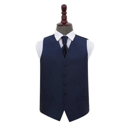 Navy Blue Solid Check Wedding Waistcoat & Cravat Set 48'