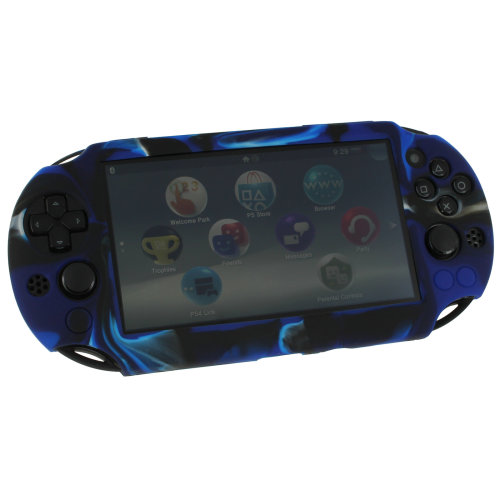 Case for PS Vita 2000 Slim Sony silicone skin protective cover ZedLabz camo blue