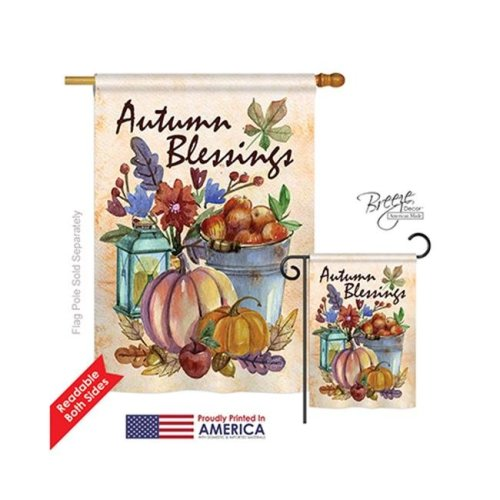 Breeze Decor 13006 Harvest & Autumn Autumn Blessings 2-Sided Vertical Impression House Flag - 28 x 40 in.