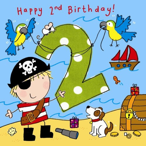Twizler 2nd Birthday Card For Boy With Pirate Dog And Parrots