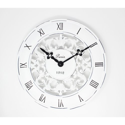 Shabby Chic Vintage French Style Wall Clock In Antique Cream