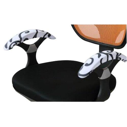 Armrest Pads Comfy Office Chair Armrest Cover for Elbows Leaf Pattern [White]