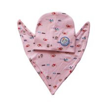 Baby Suit with Saliva Towel and Hood Pink Color with Cartoon Pattern
