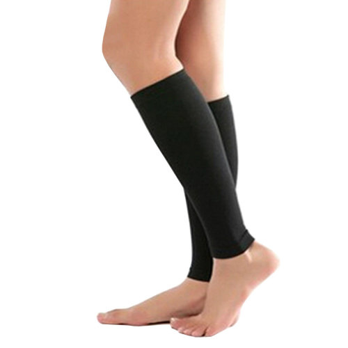 Set of 2 Leg Guard Sports Safety Leg Sleeve Protector Shin Support Socks Black