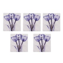 5 PCS Delicate Ink Flower  Hook Seamless Adhesive Hook, Light Blue