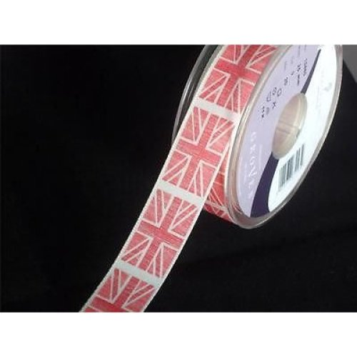 2m of Berisfords Red Union Jack Ribbon - 25mm wide